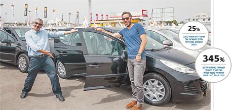 """כתבי """"כלכליסט"""" תומר ורון (מימין) ותומר הדר בעיר הרכב. המחירון הוא רק סמן ימני למחיר הרצוי"""