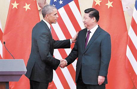 מימין שי ג'ינפּינג ו ברק אובמה ב בייג'ינג סין, צילום: אימג'בנק, Gettyimages