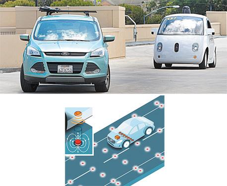 למעלה: מכונית ללא־נהג של גוגל (מימין) ברחובות מאונטיין ויו, קליפורניה. למטה:  תרשים של וולוו שמסביר את פעולת האנטנות המגנטיות בכביש