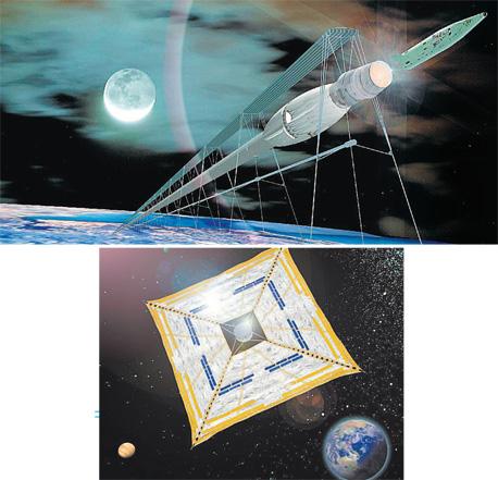 """הדמיית """"התותח המגנטי"""" שישגר מעבורות אל מחוץ לטווח כוח הכבידה. למטה: הדמיית רעיון המפרשים הסולאריים של נאס""""א"""