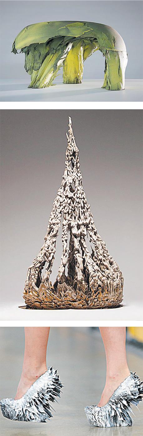 """יצירות מהסדרות """"תנועה מגנטית"""" ו""""ארכיטקטורה פוגשת מגנטיות"""" של יולאן ואן דר וויל. הנעליים הוצגו בספטמבר 2014 בפריז"""
