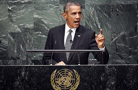 """ברק אובמה נואם באו""""ם, צילום: איי אף פי"""