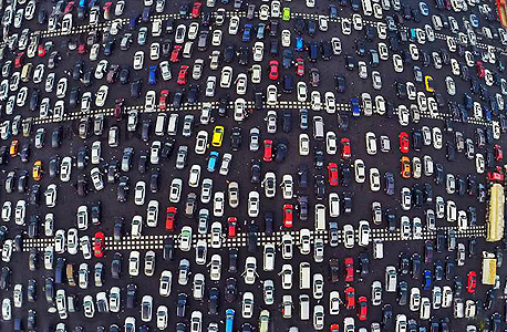 A typical traffic jam in Beijing