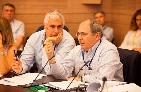 """מימין יו""""ר כיל ניר גלעד ואבי דויטשמן בדיון בכנסת, צילום: עומר מסינגר"""