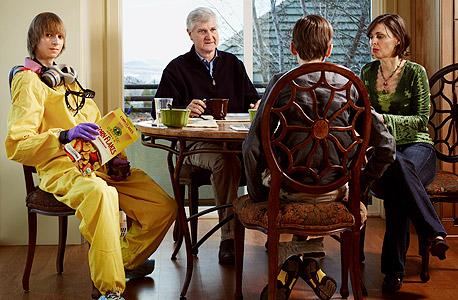 ווילסון בצילום מגזיני עם משפחתו
