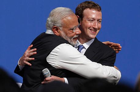 ראש ממשלת הודו עם מארק צוקרברג, צילום: אם סי טי
