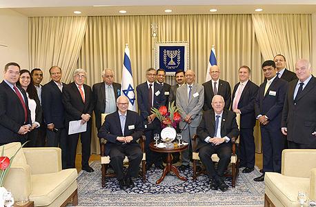 """נשיא המדינה ראובן ריבלין מארח את נשיא הודו ו חברי פורום הודו ישראל של אוניברסיטת תל אביב, צילום: מארק ניימן, לע""""מ"""