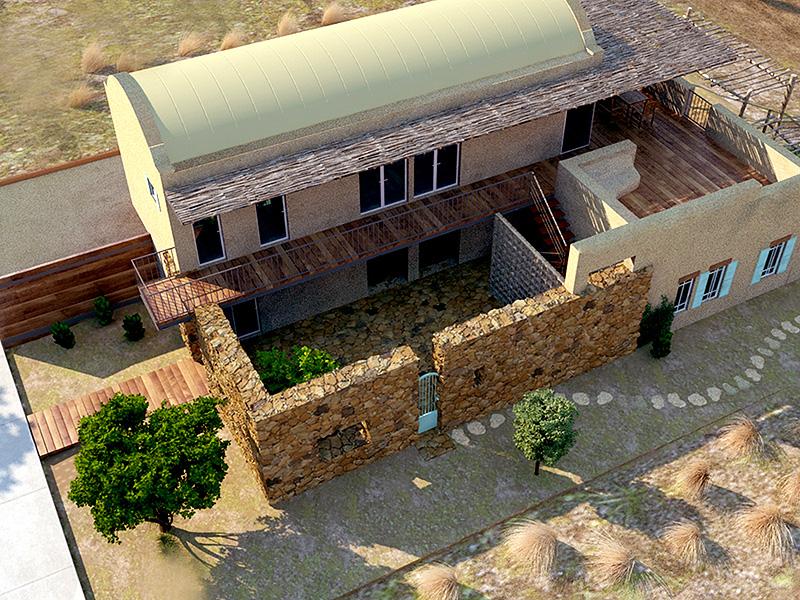 """הדמיית בית במצפה רמון שתכנן האדריכל כפיר וקס. """"פאטיו הוא סוג של מזגן טבעי ומקומי"""""""