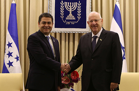 Honduran President Juan Orlando Hernandez and Israeli President Rivlin. Photo: AFP