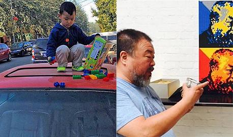 אי ויוויי על רקע הדיוקן העצמי שלו מקוביות לגו (מימין) וילד מכניס לגו לאחת ממכוניות האיסוף. סיוט יחסי ציבור לחברה