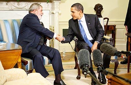 מפגש  ברק אובמה ו נשיא ברזיל לואיס אינאסיו לולה דה סילבה, צילום: בלומברג