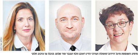 מימין: השופטת סיגל דוידוב־מוטולה ועורכי הדין ראובן וולף וענבר טור שלום. קיבלו צו עיכוב חלקי, צילום: אבי רוקח