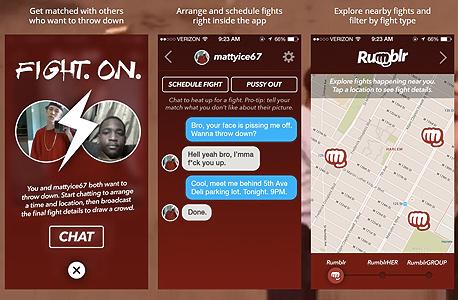 מכות אלימות אפליקציה rumblr , צילום: getrumblr.com