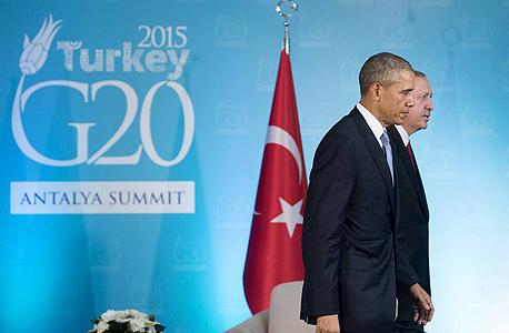 """מלפנים נשיאי ארה""""ב ברק אובמה ו נשיא טורקיה רג'יפ ארדואן, צילום: איי אף פי"""