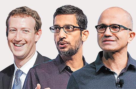 """מימין מנכ""""ל מיקרוסופט סאטיה נאדלה מנכ""""ל גוגל סונדאר פיצ'אי ו מנכ""""ל פייסבוק  מארק צוקרברג, צילומים: בלומברג, אי.פי"""