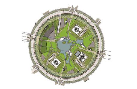 התוכנית החדשה של הכיכר.  מבנה ציבור בן 25 אלף מ''ר בצד המערבי, חניונים גדולים, כיסים ירוקים ומסלול היקפי להליכה ולרכיבה