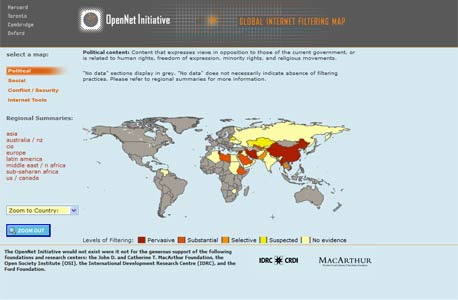 """מפת סינון פוליטי של אתרים בעולם. מתוך מיזם """"הרשת הפתוחה"""" של מרכז ברקמן"""