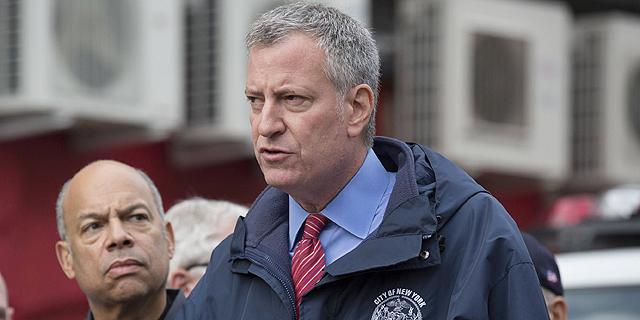 ראש עיריית ניו יורק ביל דה בלאזיו. תקציב חירום של 40 מיליון דולר, צילום: איי אף פי