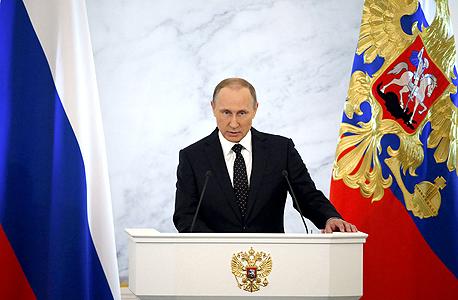 נשיא רוסיה ולדימיר פוטין בנאומו לאומה 3.12.15 , צילום: רויטרס