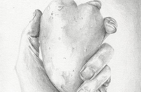 """""""לבי, תפוח אדמה"""", רישום על בסיס תמונה מאינסטגרם. """"זה המפגש בין הזרות לאינטימיות"""""""