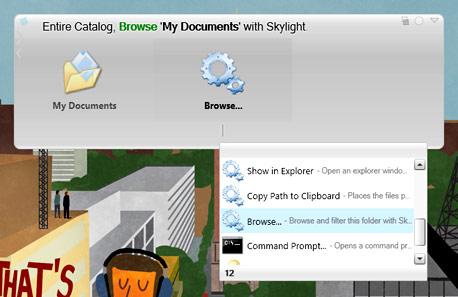 עיון בתיקיות עם SkyLight, צילום מסך: Skylight