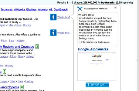 המלצות על אתרים בגוגל, דרך מנוע ההמלצות החברתי של Xmarks, צילום מסך: Xmarks