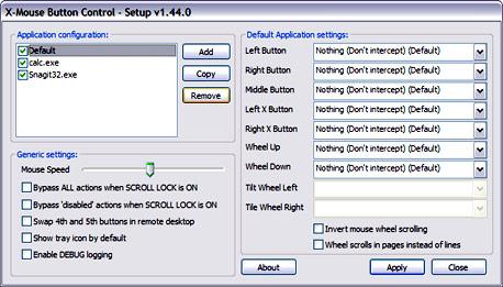 שינוי הגדרות כפתורי העכבר באמצעות X-Mouse Button Control, צילום מסך: X Mouse Button Control