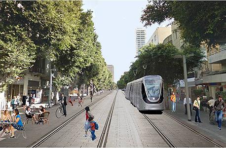 """הדמיית """"הקו הסגול"""" ברחוב אלנבי בתל אביב"""