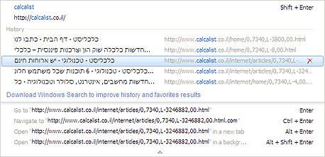 המלצות אוטומטיות בשורת הכתובת של אינטרנט אקספלורר 8