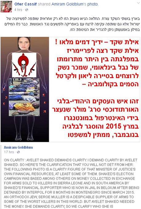 פרופסור עמירם גולדבלום כתב פוסט חריף נגד שרת המשפטים איילת שקד, צילום מסך: .facebook.com