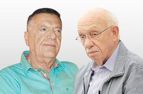 """מימין אביגדור קפלן יו""""ר מגה ו מיכאל שטראוס, צילום:עמית שעל, ראובן שוורץ"""