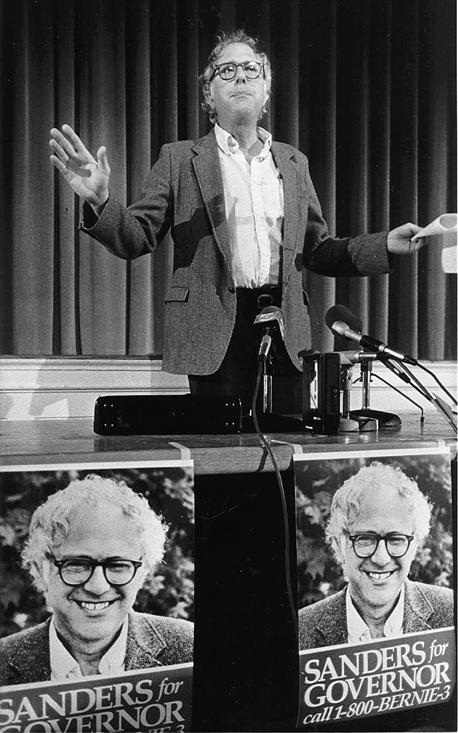 """סנדרס מודיע על התמודדותו במירוץ למושלות ורמונט, 1986. """"פוליטיקה היא עניין מאוד חשוב"""""""