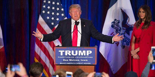 דונלד טראמפ בפריימריז באיווה (ארכיון), צילום: איי אף פי