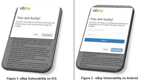 הפרצה ב-eBAY: כפי שניתן לראות, ההודעה מופיעה באתר האינטרנט של eBay, בחנות הוירטואלית של התוקף אשר מציעה הנחה חד פעמית למשתמש התמים אשר יתקין את האפליקציה הזדונית