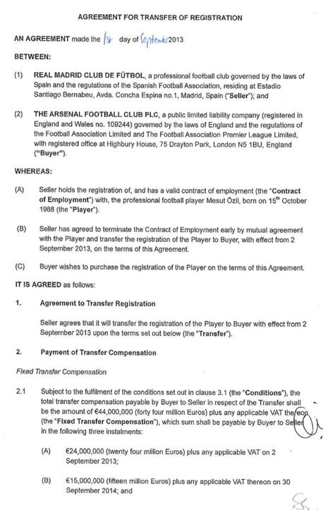 החוזה של ארסנל וריאל מדריד בהקשר של מסוט אוזיל