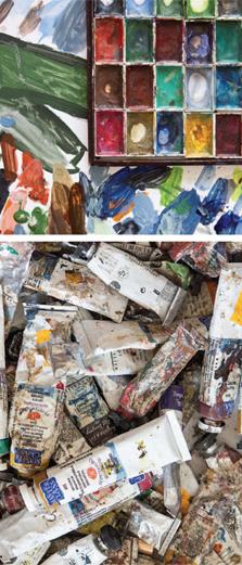 כלי עבודה: דף A4, טמפרה על בד קטן, כן ציור, קנבס, מכחולים וצבעי שמן