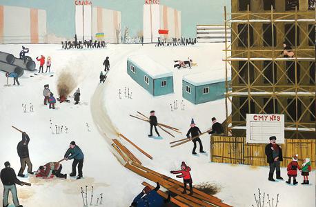 """""""1991, אוקראינה"""". """"הציור הזה הוא המפתח לתערוכה, על כל הזוועות שלפני ואחרי ההגירה"""""""