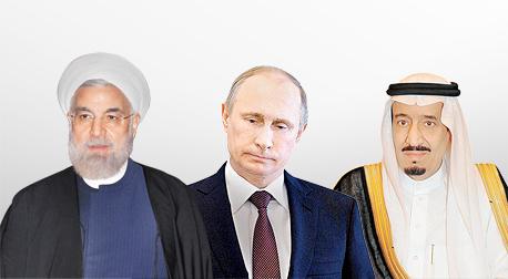 מימין מלך סעודיה סלמאן נשיא רוסיה פוטין ונשיא איראן רוחאני, צילום: איי אף פי, איי פי