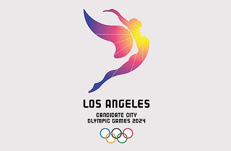 לוגו של לוס אנג'לס 2024. לוס אנג'לס מתחרה בפריז, רומא ובודפשט על אירוח המשחקים. הוועד האולימפי יכריז על הזוכה בשנה הבאה.