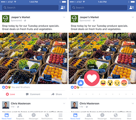 כפתורי תגובה פייסבוק Reactions