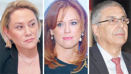 """מנכ""""לי שלושת הבנקים הגדולים ציון קינן (מימין), רקפת רוסק עמינח ולילך אשר טופילסקי. דיסקונט מאגף מכיוון אחר, צילומים: אוראל כהן"""