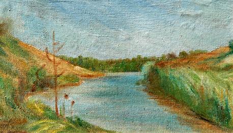 הציור של ליפשיץ מסביבת עיירת הולדתו סטולין, ציור: אפרים ליפשיץ