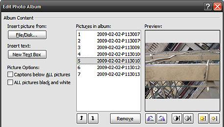 יצירת אלבום תמונות בפאוארפוינט 2007