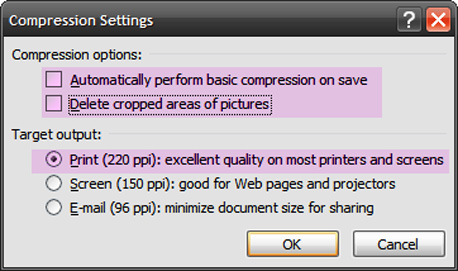 הגדרות דחיסה להדפסה באיכות גבוהה