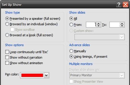 הגדרות הצגה ב-PowerPoint 2007