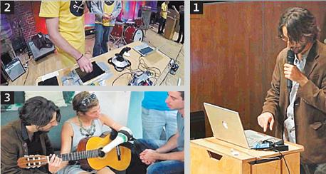 מימין, נגד כיוון השעון:  מתן ברקוביץ בהרצאה, מכשיר שמתרגם גלי EEG לנגינה ופיתוח שמאפשר לנגן בגיטרה עם יד אחת