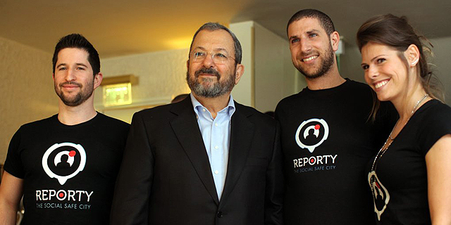 .Ehud Barak with the founders of Reporty, which was rebranded as Carbyne. Photo: Amit Sha