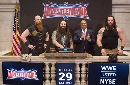 כוכבי WrestleMania בפתיחת המסחר היום בניו יורק, צילום מסך: @NYSE