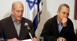Former Israeli Prime Minister Olmert and Former Defense Minister Ehud Barak. Photo: Tal Shachar