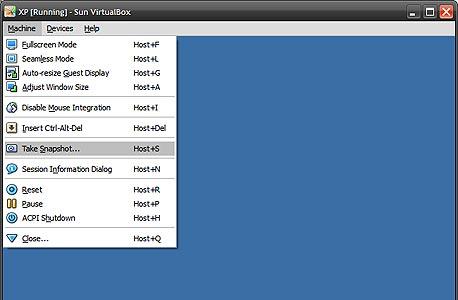יצירת תצלום של מצב מערכת ההפעלה האורחת ב-VirtualBox